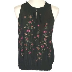 Chenault Embroidered Floral Sleeveless Blouse